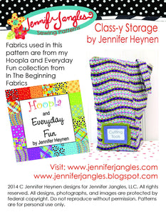 Class-Y Storage Sewing Pattern sewn using Hoopla and Everyday Fun Fabrics by Jennifer Jangles