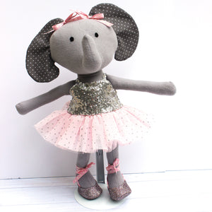 Ballerina Elephant Doll featured in the Make A Friend - Elena Elephant Sewing Pattern by Jennifer Jangles
