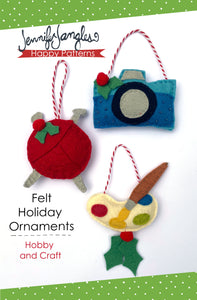 Camera, knitting needles & yarn, & paint palette ornaments included in the Felt Ornament Sewing Pattern Bundle by Jennifer Jangles