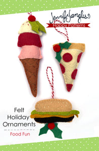 Ice cream, pizza & cheeseburger ornaments included in the Felt Ornament Sewing Pattern Bundle by Jennifer Jangles