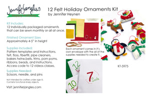 12 Felt Holiday Ornaments Kit details and supply list - Sewing Pattern by Jennifer Jangles