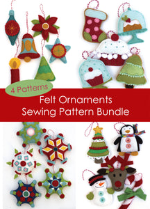 Felt Holiday Ornaments Pattern Bundle- PDF