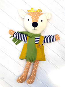 Willow Deer doll featured in the Willow and Darby Deer Make a Friend Sewing Pattern by Jennifer Jangles