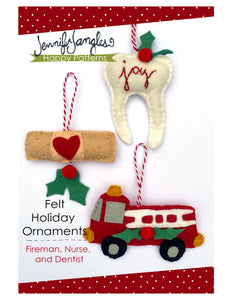 Tooth, bandaid & firetruck ornaments included in the Felt Ornament Sewing Pattern Bundle by Jennifer Jangles