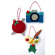 Camera, knitting needles & yarn, paint palette ornaments included in the Hobby & Craft Felt Holiday Ornaments Sewing Pattern