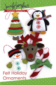 Christmas Tree, Penguin, Holly, Reindeer, Snowman, & Candy Cane ornaments included in the Felt Holiday Ornaments Sewing Pattern Bundle by Jennifer Jangles