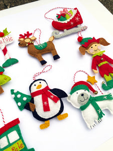 Reindeer, Sleigh, Penguin, Elf, and Polar Bear Felt Ornaments included in the 12 Felt Holiday Ornaments Sewing Pattern Kit by Jennifer Jangles