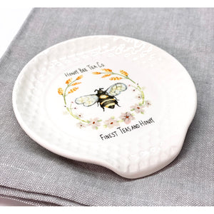 Honey Bee Tea Co. Ceramic Spoon Rest (Bee + Wheat)