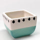 Mini Patterned Planters - Turquoise Diamonds
