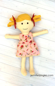 Blonde Doll featured in the Make a Friend Doll Sewing Pattern by Jennifer Jangles