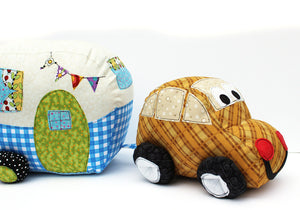Lucy Camper Softie with Zoom Zoom Car Softie Sewing Pattern by Jennifer Jangles