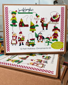 12 Felt Holiday Ornaments Kit box decorated with a colorful image of all the different ornaments - Sewing Pattern by Jennifer Jangles