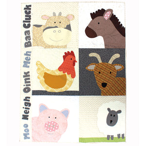 Quilt with appliquéd cow, chicken, pig, horse, goat & sheep featured in the Farm Animals Applique Quilt Sewing Pattern by Jennifer Jangles