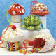 Mushroom, Crab, Turtle, Cupcake drawstring bags featured in the Little Ditties Bags Sewing Pattern by Jennifer Jangles