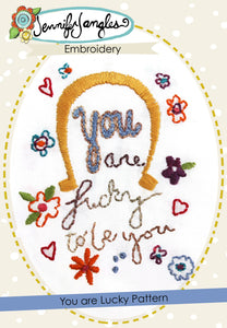 Embroidery Pattern - You Are Lucky - PDF -Sewing Pattern by Jennifer Jangles