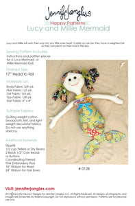Lucy + Millie Mermaid Dolls Sewing Pattern by Jennifer Jangles, supply list + details