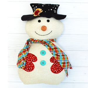 Snowman with hat, mittens, scarf featured in the Mr. Snowjangles Softie Sewing Pattern by Jennifer Jangles