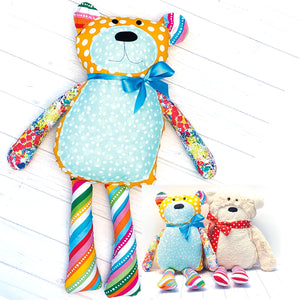 Colorful bear and minky bear featured in the  Mr. Socks Stuffed Bear Sewing Pattern by Jennifer Jangles