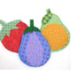 Strawberry, Eggplant, Pear oven mitts featured in the Fruits and Veggie Oven Mitts Sewing Pattern by Jennifer Jangles