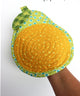 Pear oven mitt featured in the Fruits and Veggie Oven Mitts Sewing Pattern by Jennifer Jangles