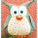 Stuffed owl toy featured in the Okey Dokey Owl Softie Sewing Pattern by Jennifer Jangles