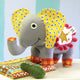 Colorful stuffed elephant toy featured in the Pickles the Elephant Softie Sewing Pattern by Jennifer Jangles