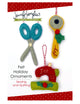 Scissors, rotary cutter & sewing machine ornaments included in the Felt Ornament Sewing Pattern Bundle by Jennifer Jangles