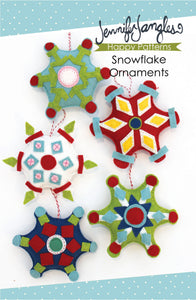 Snowflake Ornaments included in the Felt Holiday Ornaments Sewing Pattern Bundle by Jennifer Jangles