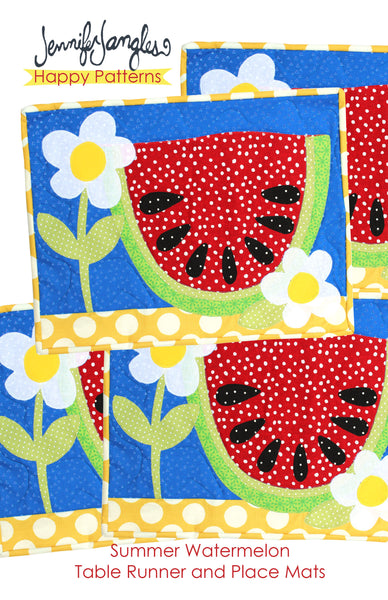 Summer Watermelon Place Mats and Table Runner Applique Sewing Pattern - PDF -Sewing Pattern by Jennifer Jangles