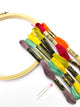 Embroidery floss, hoop, and pins included in the 30 Day Sampler Embroidery Class supplies - Embroidery Pattern by Jennifer Jangles
