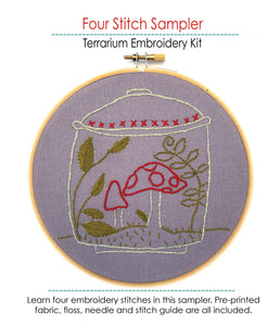 Mushroom embroidery featured in the Four Stitch Sampler - Terrarium Embroidery Kit by Jennifer Jangles