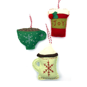 To go coffee cup, teacup & hot chocolate in mug ornaments included in the Warm Drinks Felt Holiday Ornaments Sewing Pattern by Jennifer Jangles