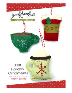To go coffee cup, teacup & hot chocolate in mug ornaments included in the Felt Ornament Sewing Pattern Bundle by Jennifer Jangles