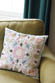 Finished accent pillow embellished using the Embroidery Pattern - Flowers and Insects by Jennifer Jangles