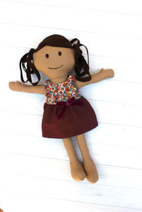 Brunette Doll featured in the Make a Friend Doll Sewing Pattern by Jennifer Jangles