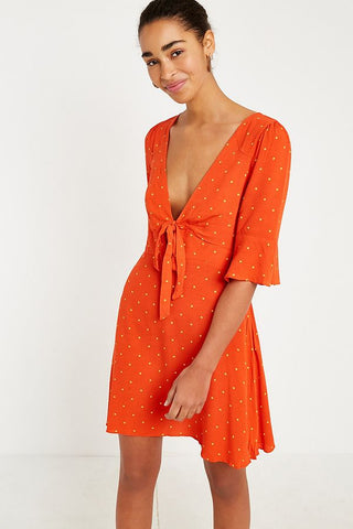 Free People All Yours Orange Polka Dot Mini Dress Sz: 6