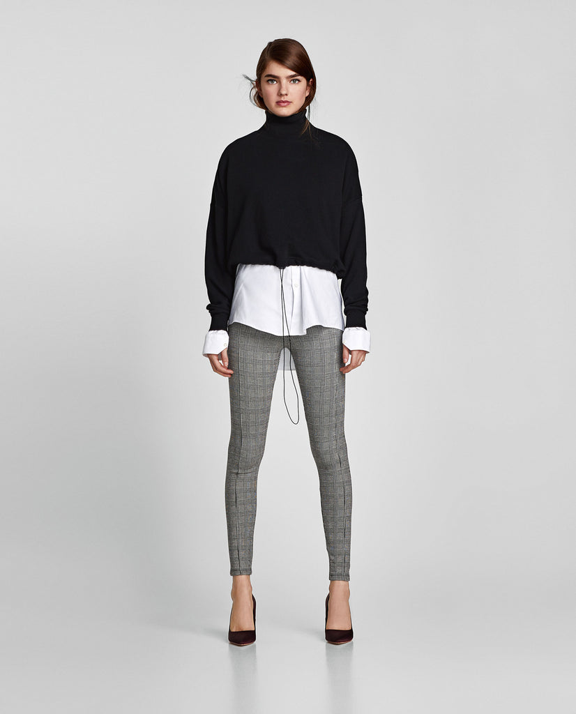 Zara Plaid Leggings Sz L *NEW*