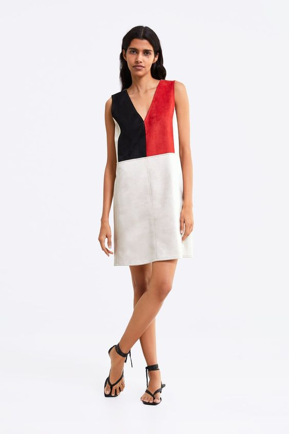 Zara Faux Suede Colour Blocked Dress Sz. S
