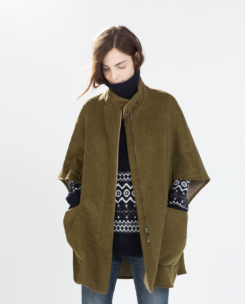 Zara Wool Cape Jacket Sz: XS
