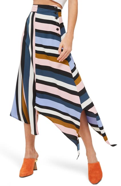 Topshop Striped Midi Skirt Sz: 4
