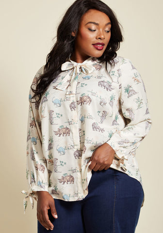Modcloth Dino Button-Up Blouse Sz: XS