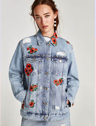 Zara Oversized Embroidered Denim Floral Jacket Sz: M