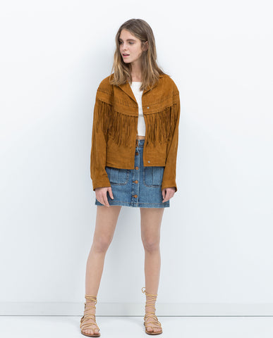 Zara Leather Fringe Jacket Sz:M