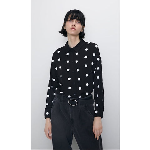 Zara Embroidered Polka Dot Shirt  Sz: M