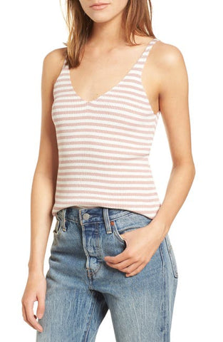 Cotton Emporium Knit Striped Tank Sz: S