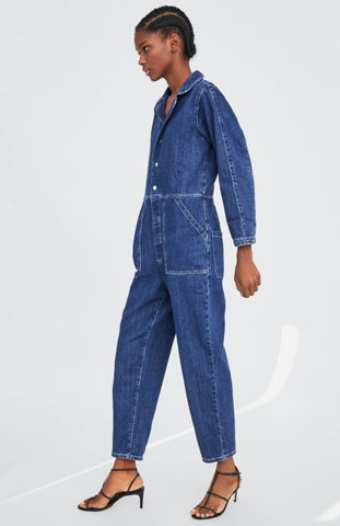 Zara Denim Jumpsuit Sz S