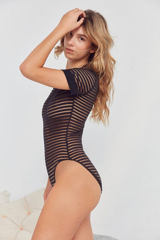 Out From Under Striped Mesh Bodysuit Sz: M