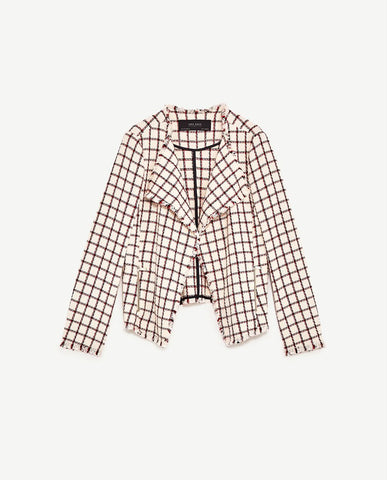 Zara Plaid Blazer Sz: S