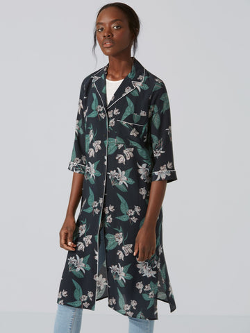 Frank + Oak Silk Floral Shirt-Dress in Black Sz: XS