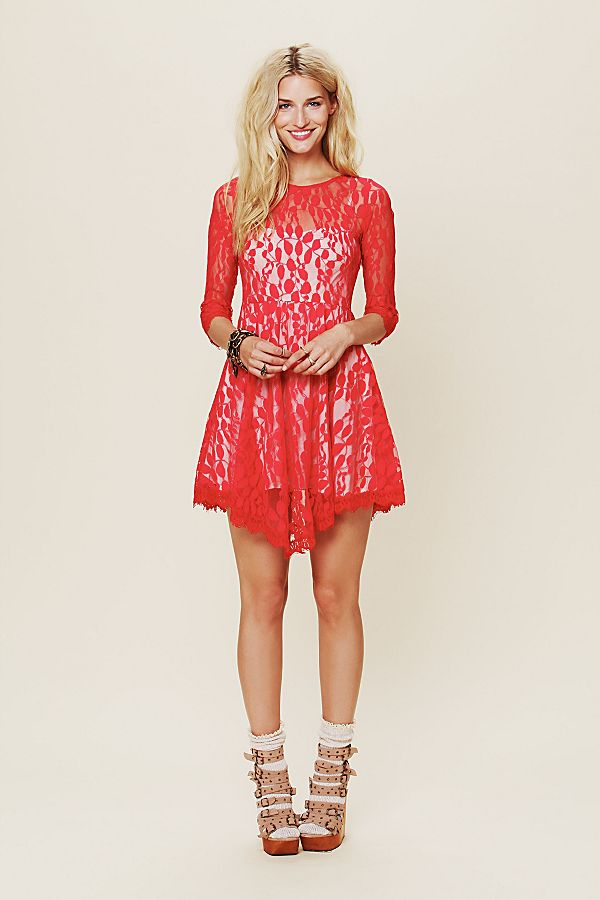 Free People Mesh Lace Dress Sz S
